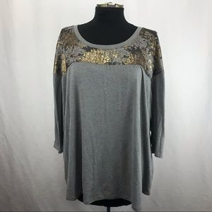 Lane Bryant Grey and Gold Tee